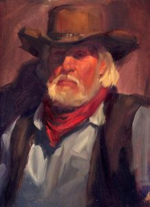 'Cowboy' 9x12 oil on wood panel - Sold
