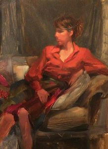 'Orange Blouse' -figure study- 9x12 oil on wood panel - Available
