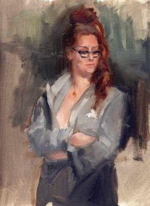 'Professional Dress' -figure study- 9x12 oil on panel - Available